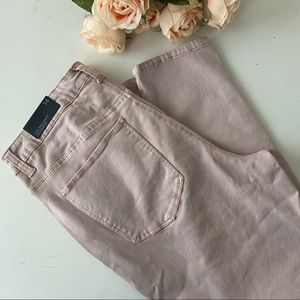 Blush pink high rise ankle jeans